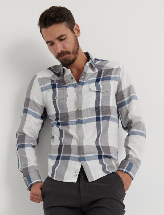 Double Weave Western Shirt, BLUE PLAID, productTileDesktop