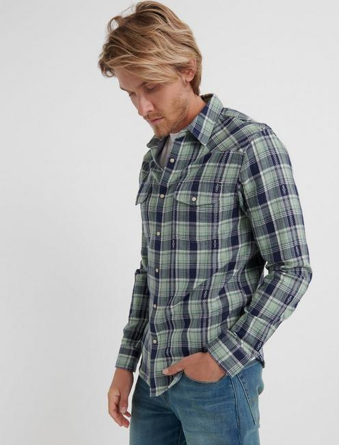 Double Weave Western Shirt, GREEN PLAID