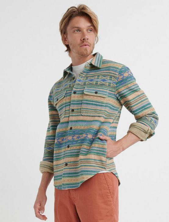 Jacquard Shirt Jacket, GREEN STRIPE, productTileDesktop