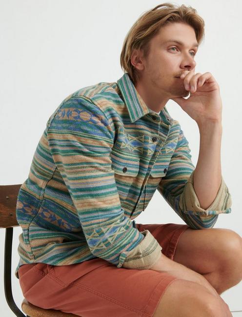 Jacquard Shirt Jacket, GREEN STRIPE
