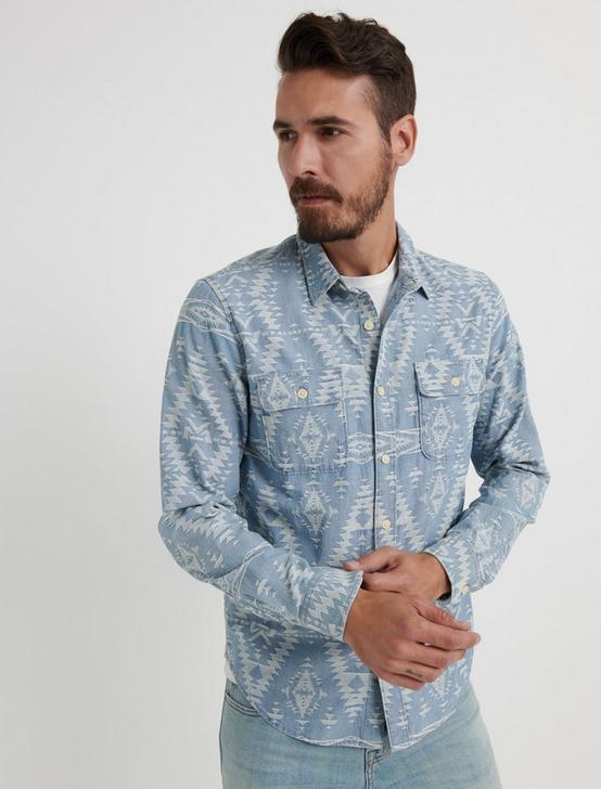 Indigo Jacquard Workwear Shirt, CHAMBRAY BLUE, productTileDesktop