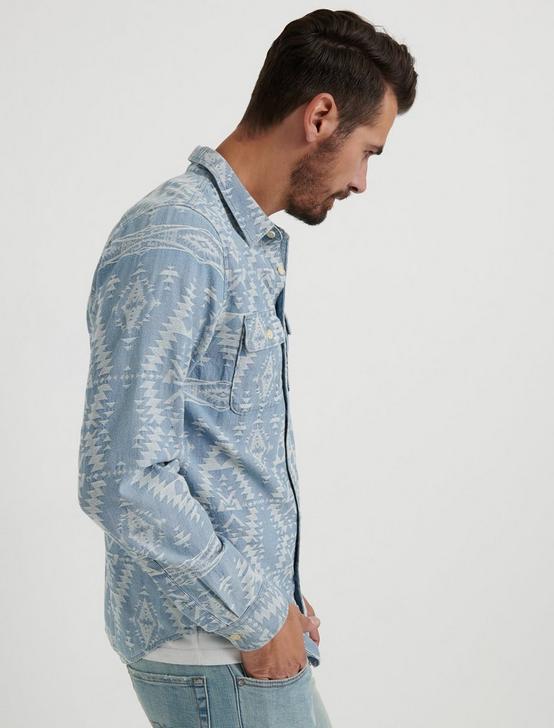 Indigo Jacquard Workwear Shirt, CHAMBRAY BLUE, productTileDesktop