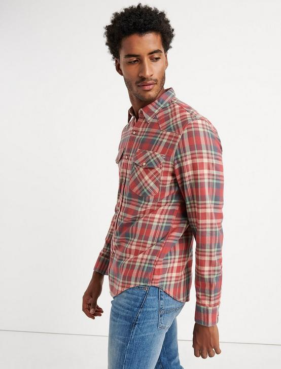 Twill Western Shirt, RED PLAID, productTileDesktop