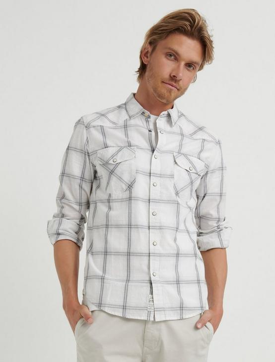 Slub Poplin Western Shirt, NATURAL PLAID, productTileDesktop