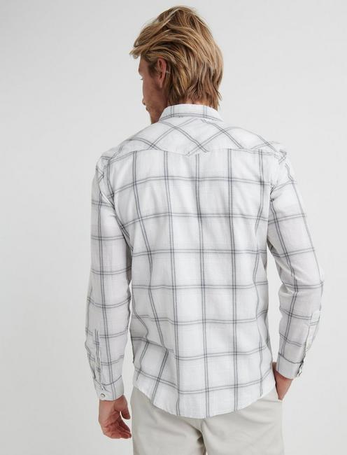 Slub Poplin Western Shirt, NATURAL PLAID