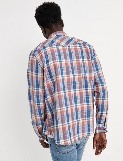Twill Western Shirt, RED/BLUE