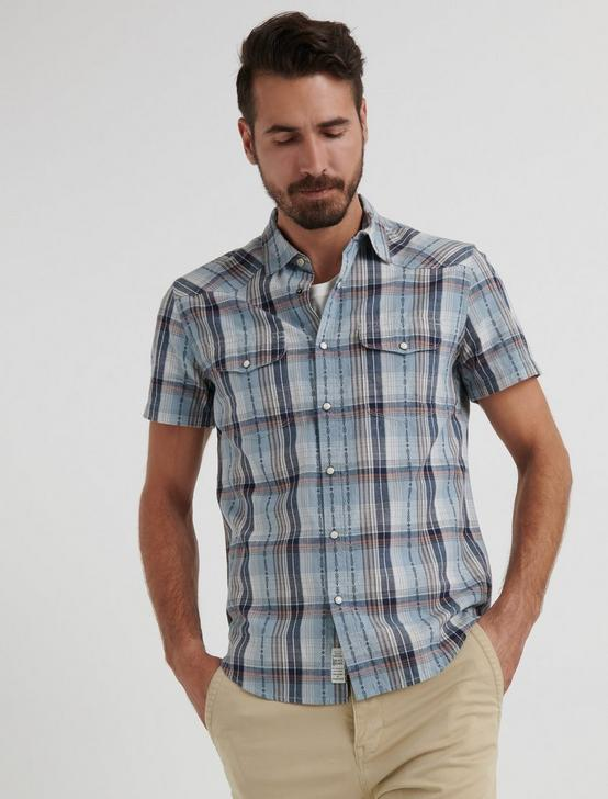 Dobby Western Shirt, BLUE PLAID, productTileDesktop
