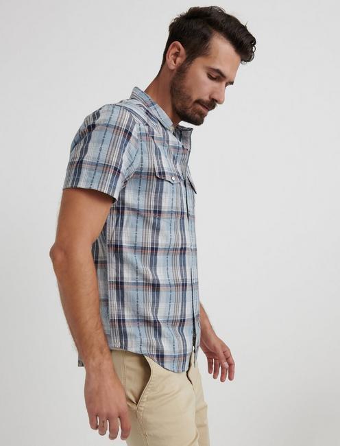 Dobby Western Shirt, BLUE PLAID