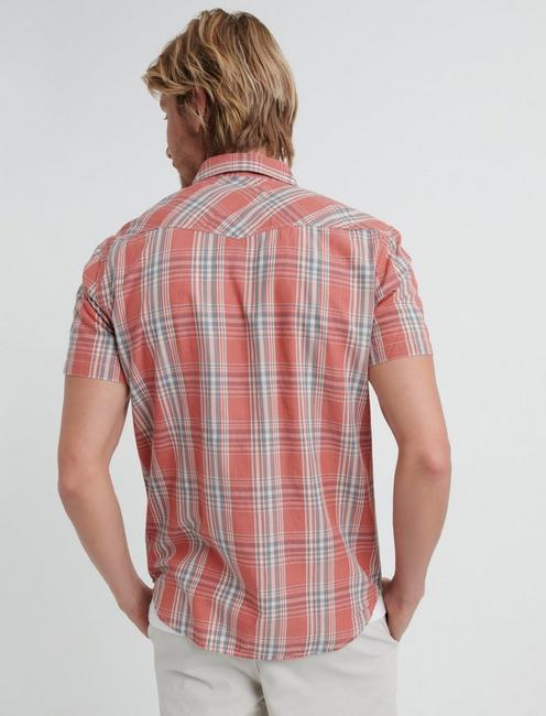 Rustic Poplin Western Shirt, RED TEAL