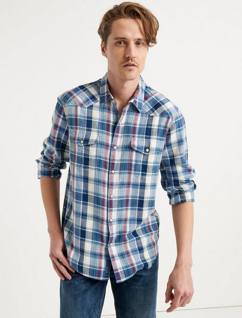 Classic Fit Indigo Western, BLUE PLAID