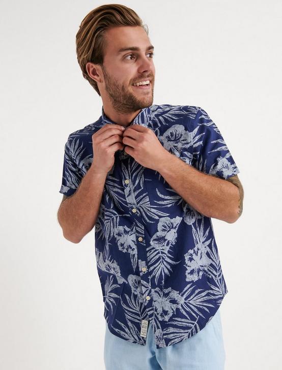 Tropics Slub Poplin Shirt, BLUE PRINT, productTileDesktop