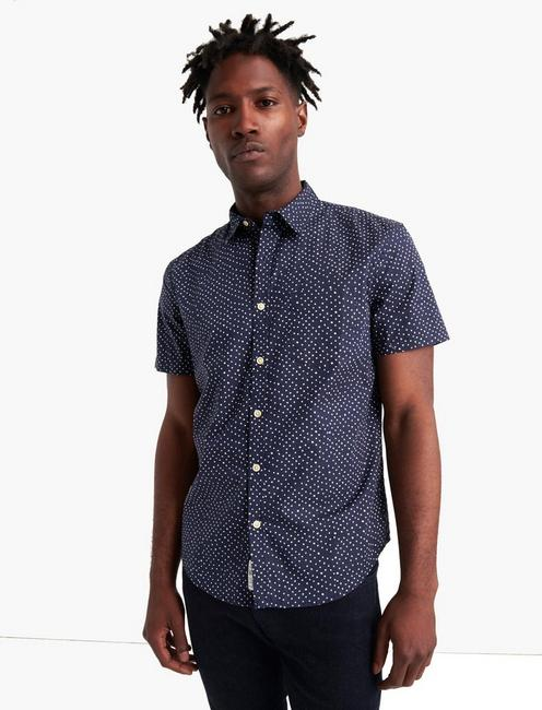 SHORT SLEEVE PRINTED 1 POCKET SHIRT, BLUE PRINT