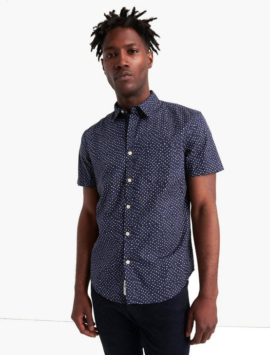 SHORT SLEEVE PRINTED 1 POCKET SHIRT, BLUE PRINT, productTileDesktop