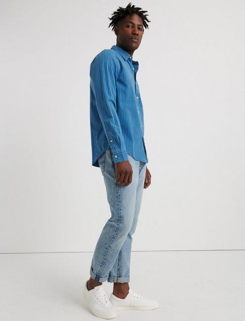 INDIGO STRIPED 1 POCKET SHIRT, BLUE STRIPE