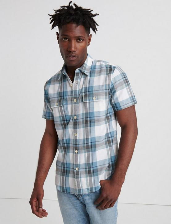 PLAID DOUBLEWEAVE WORKWEAR SHIRT, BLUE PLAID, productTileDesktop