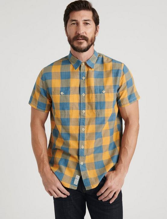 SHORT SLEEVE MASON WORKWEAR, BLUE/GOLD, productTileDesktop