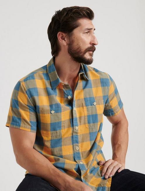 MASON WORKWEAR TWO POCKET SHORT SLEEVE SHIRT, BLUE/GOLD