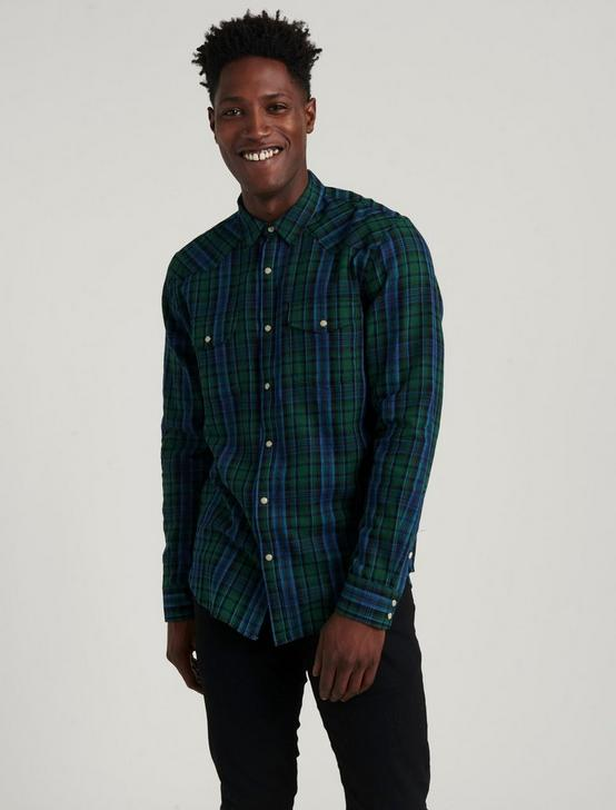 TWILL WESTERN SHIRT, BLUE/GREEN, productTileDesktop