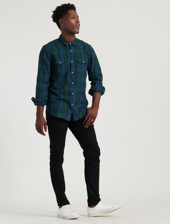 LONG SLEEVE INDIGO WESTERN SHIRT, BLUE/GREEN, productTileDesktop