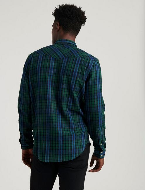 LONG SLEEVE INDIGO WESTERN SHIRT, BLUE/GREEN
