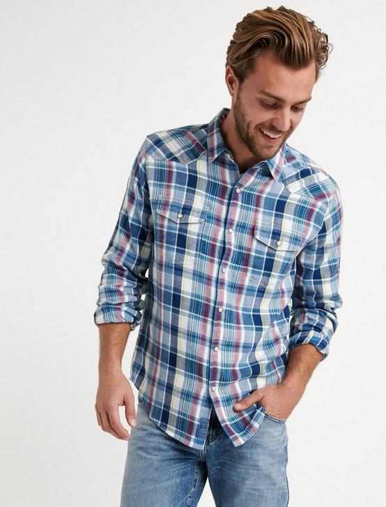 Slim Fit Indigo Western, BLUE PLAID, productTileDesktop
