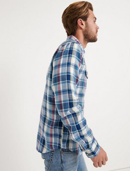 Slim Fit Indigo Western, BLUE PLAID