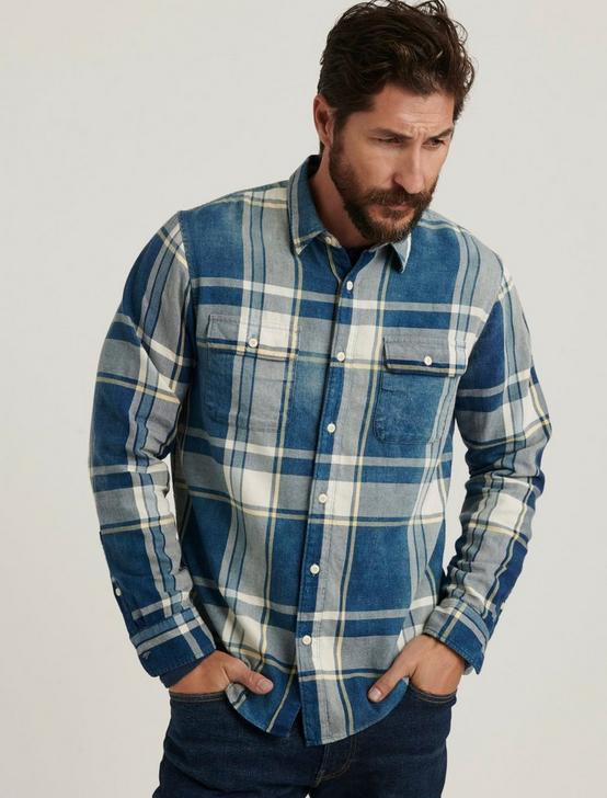 INDIGO PLAID WORKWEAR LONG SLEEVE SHIRT, BLUE PLAID, productTileDesktop