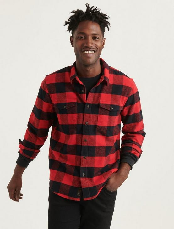 STRETCH FLANNEL REDWOOD WORKWEAR LONG SLEEVE SHIRT, RED PLAID, productTileDesktop
