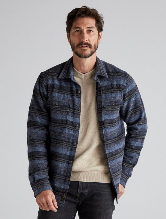 JACQUARD LONG SLEEVE SHIRT JACKET, BLUE STRIPE, productTileDesktop