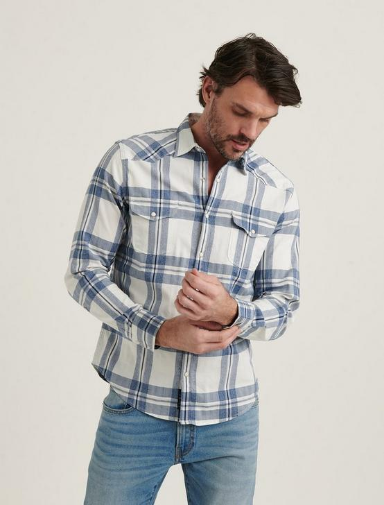 LONG SLEEVE SANTA FE WESTERN, BLUE PLAID, productTileDesktop