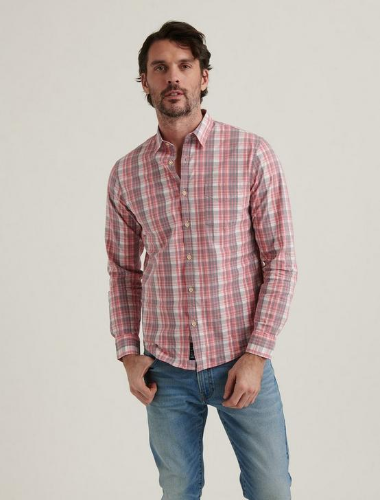 LONG SLEEVE 1 POCKET BALLONA SHIRT, RED PLAID, productTileDesktop