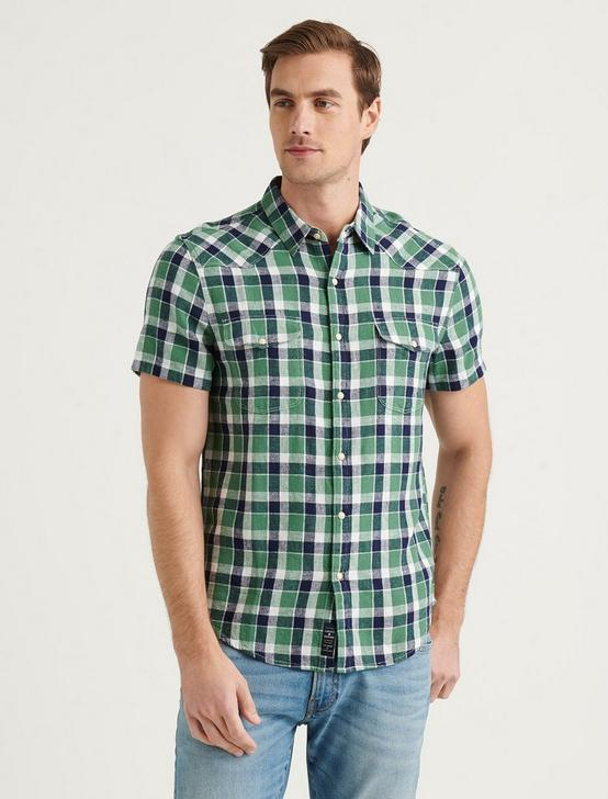 SANTA FE WESTERN SHORT SLEEVE SHIRT, GREEN PLAID, productTileDesktop