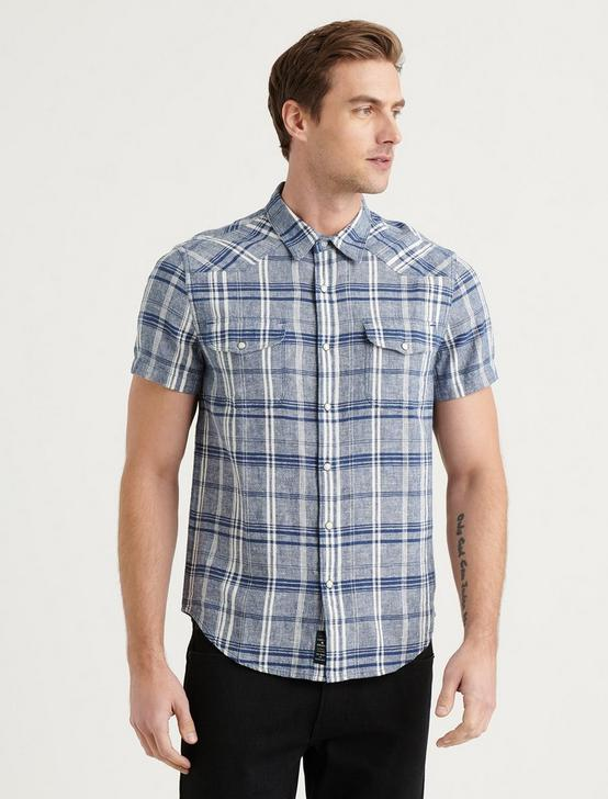 SANTA FE WESTERN SHORT SLEEVE SHIRT, BLUE PLAID, productTileDesktop