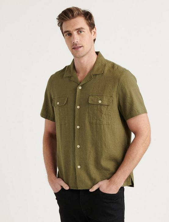 SOLID AUTO SHORT SLEEVE SHIRT, BURNT OLIVE, productTileDesktop