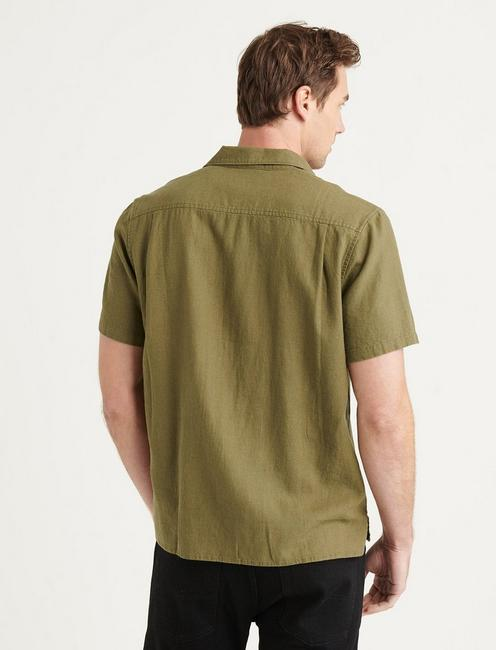 SOLID AUTO SHORT SLEEVE SHIRT, BURNT OLIVE