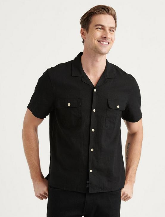 SOLID AUTO SHORT SLEEVE SHIRT, BLACK ONYX, productTileDesktop