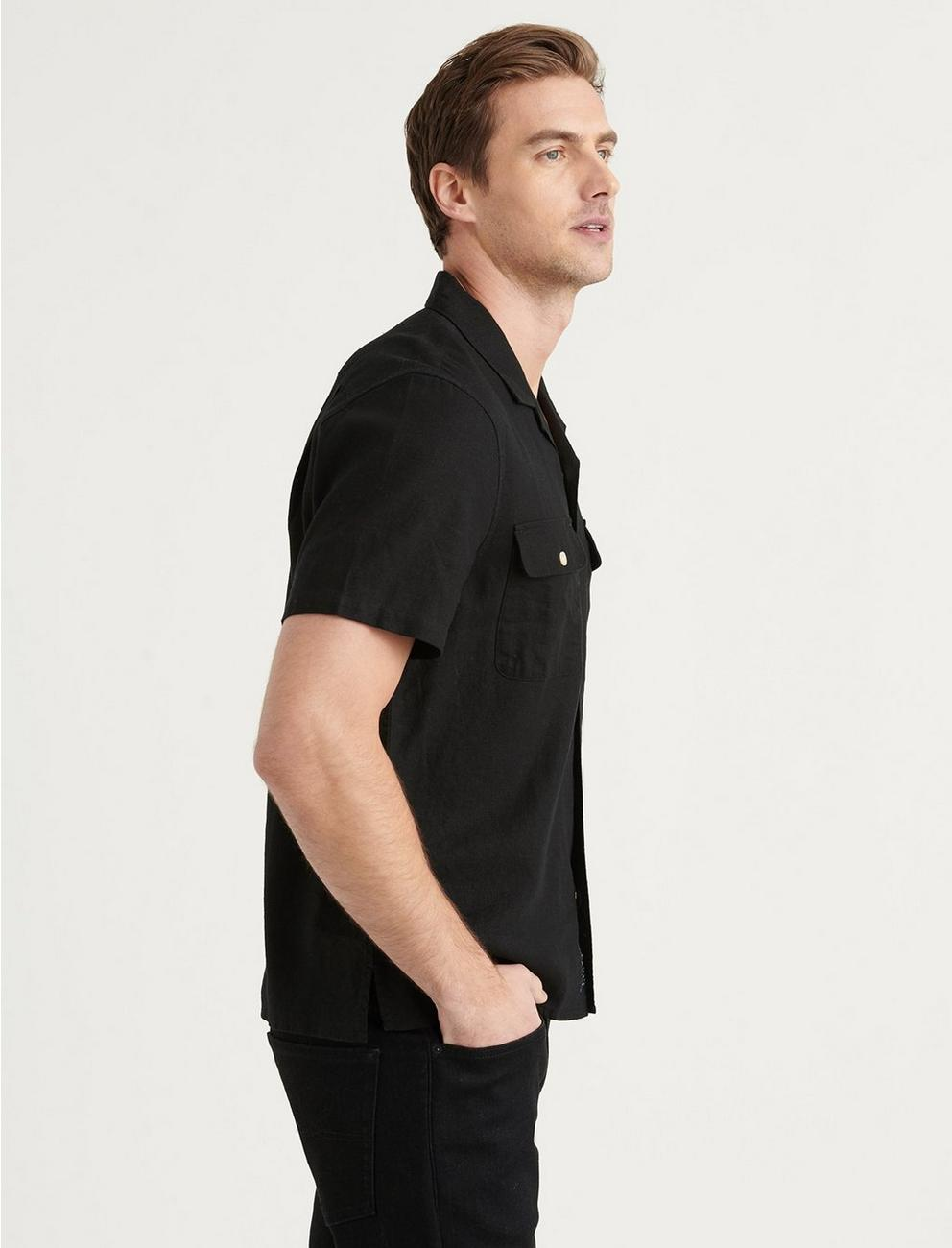 SOLID AUTO SHORT SLEEVE SHIRT, BLACK ONYX