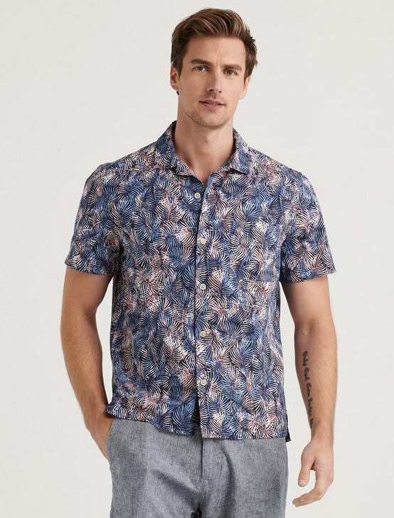 CLUB COLLAR SHORT SLEEVE SHIRT, BLUE PRINT, productTileDesktop
