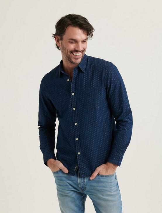 INDIGO BALLONA ONE POCKET LONG SLEEVE SHIRT, BLUE PRINT, productTileDesktop