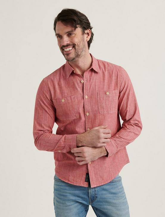 CHAMBRAY MASON WORKWEAR LONG SLEEVE SHIRT, 636 RED, productTileDesktop