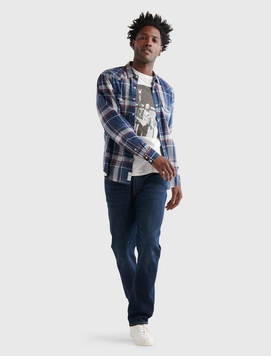 INDIGO SANTA FE WESTERN LONG SLEEVE SHIRT, BLUE PLAID, productTileDesktop