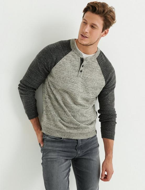 COLOR BLOCK HENLEY SWEATER, HEATHER GREY MULTI, productTileDesktop
