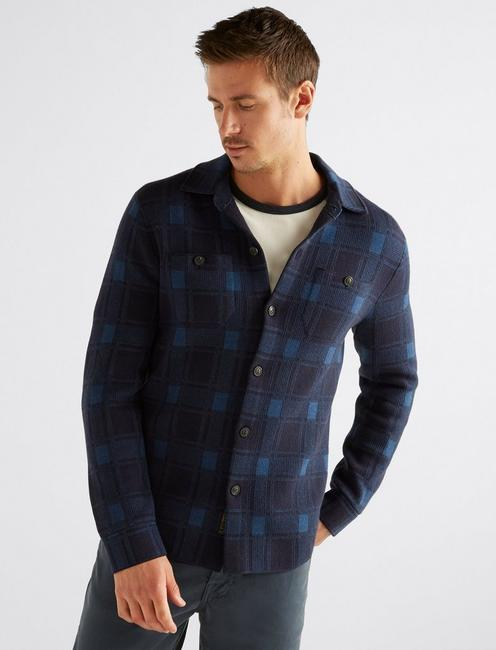 PLAID SWEATER SHIRT, NAVY/BLUE