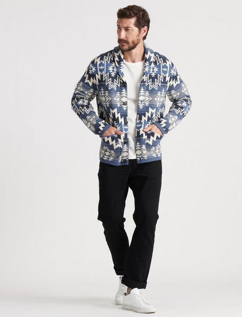 Ombre Heritage Shawl Sweater, BLUE MULTI
