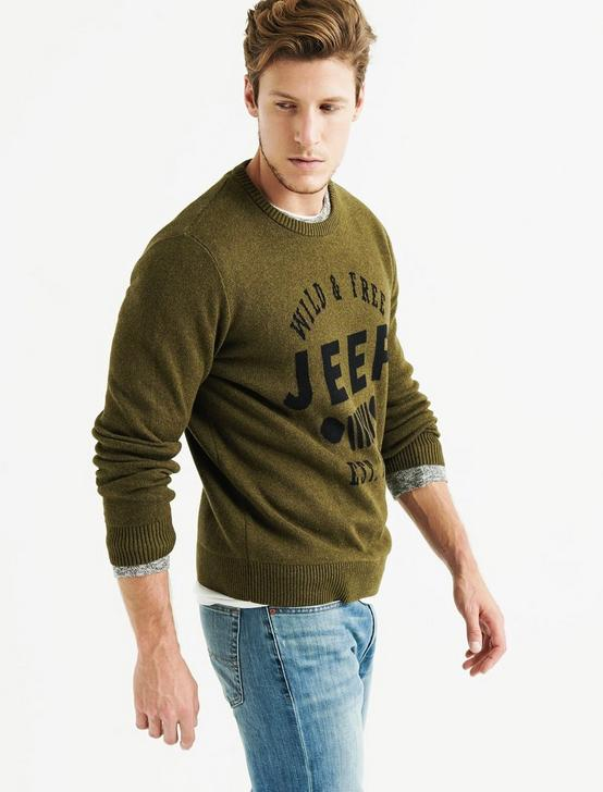 JEEP GRILL SWEATER, HEATHER OLIVE, productTileDesktop