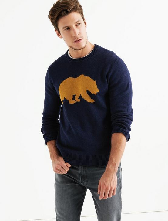 CALIFORNIA BEAR  SWEATER, HEATHER NAVY, productTileDesktop