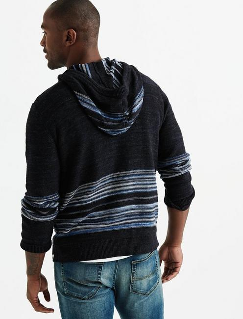 STRIPED NOVELTY HOODIE, NAVY MULTI