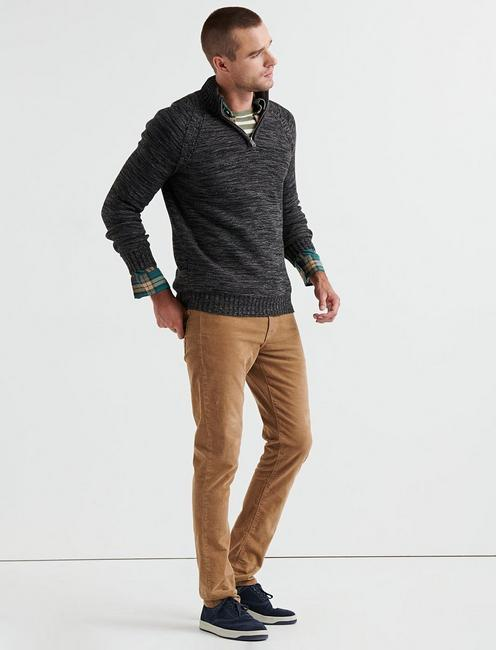 HALF ZIP CABLE MOCK NECK, CHARCOAL