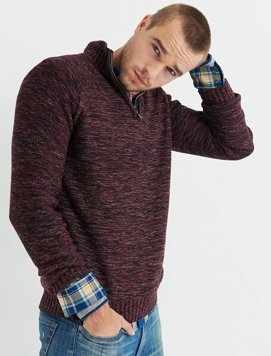 HALF ZIP CABLE MOCK NECK, BURGUNDY, productTileDesktop