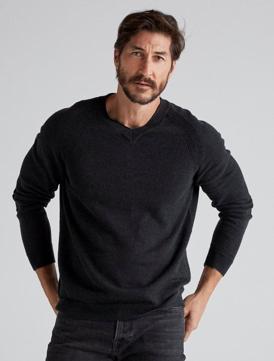 WELTER WEIGHT V-NECK SWEATER, HEATHER BLACK, productTileDesktop
